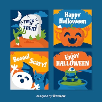 Set of halloween cards in flat design