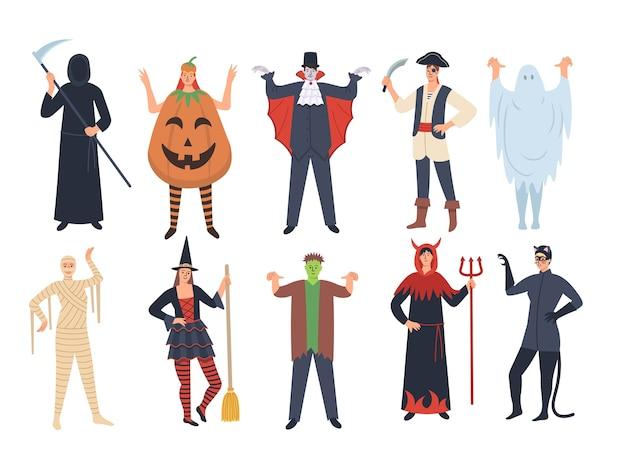 Набор персонажей мультфильмов хэллоуина: тыква, вампир, смерть, призрак, ведьма, франкенштейн, пират, дьявол, женщина-кошка. halloween party. иллюстрации шаржа.