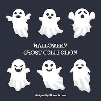 Set of halloween celebration ghosts