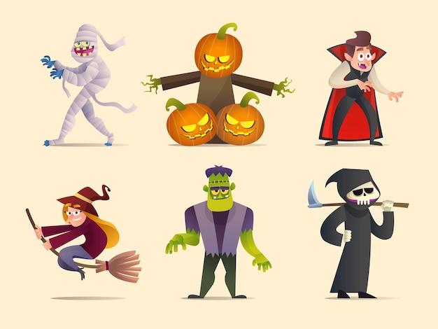 Набор иллюстраций шаржа коллекции персонажей хэллоуина