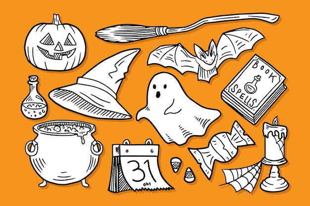 Набор элементов каракули хэллоуин
