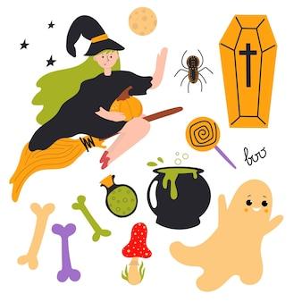 Набор элементов хэллоуина с ведьмой, летящей на метле симпатичная плоская иллюстрация дизайн детской