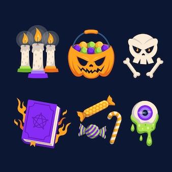 Набор хэллоуин плоский дизайн элементов