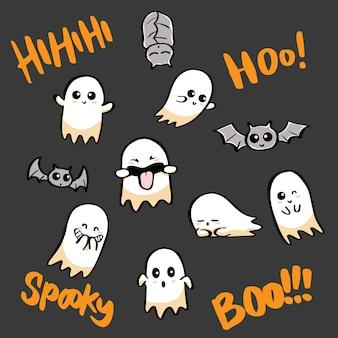 ハロウィーンの幽霊とバットのセット