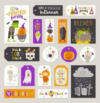 할로윈 선물 태그 및 만화 캐릭터, 인사말, 휴일 기호 및 기호 레이블 집합입니다. 삽화.