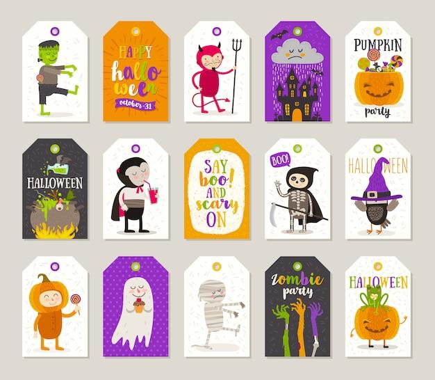 Набор тегов подарка хэллоуина и этикеток с героями мультфильмов, поздравлениями, праздничным знаком и символом. иллюстрация.