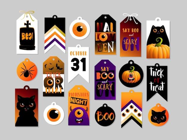 Набор тегов подарка хэллоуина. симпатичные и страшные этикетки, шаблоны значков. открытки для печати. векторные иллюстрации