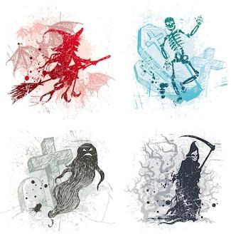 Набор рисованной иллюстраций хэллоуина