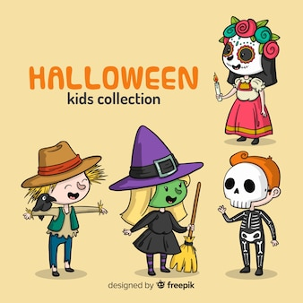 Set of halloween kids