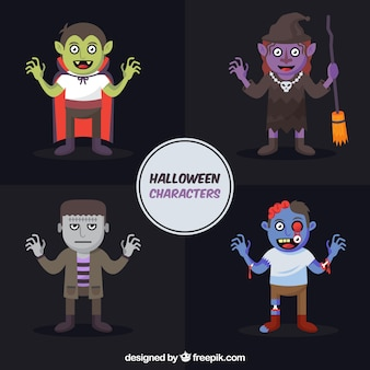Набор символов партии хэллоуина в плоском дизайне