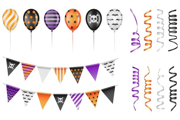 Набор элементов вечеринки в честь хэллоуина. воздушные шары, вымпелы и растяжки