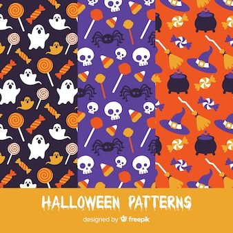 Set of halloween patterns in flat design