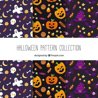 Set of halloween patterns in flat design