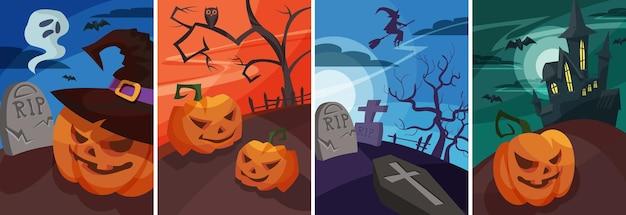 만화 스타일의 할로윈 포스터 세트입니다. 다양한 플래카드 디자인.