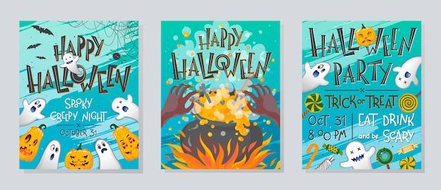 Набор плакатов хэллоуина с тыквами, привидениями, конфетами, котлом ведьмы и паутиной.