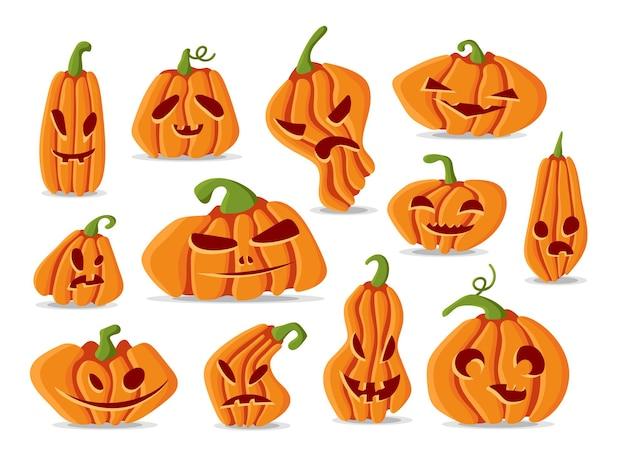 Набор тыквенных лиц хэллоуина в коллекции различных форм джека о фонаря персонажей иллюстрации