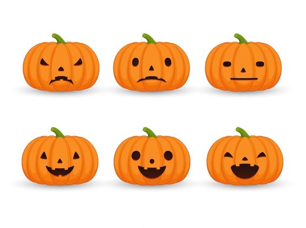 Набор тыкв на хэллоуин, смешные и страшные выражения лица. тыква набор эмоций на белом