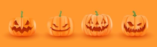 ハロウィーンのカボチャ、変な顔のセット。秋の休日。