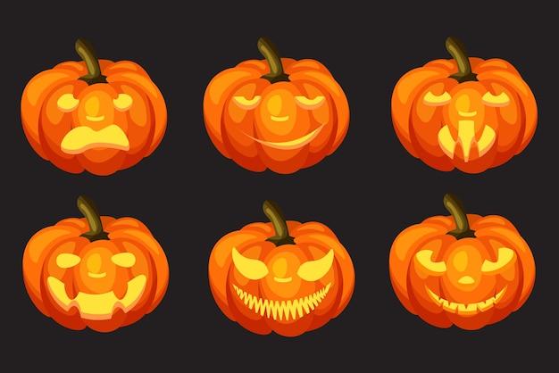Набор тыкв на хэллоуин с гримасой вырез, изолированные на темном фоне. счастливый хэллоуин концепции. осенние каникулы.