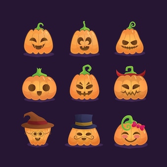 Набор тыкв на хэллоуин с разными выражениями