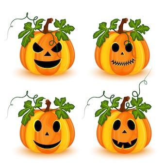 Набор тыкв хэллоуина с разными лицами, изолированные на белом фоне. векторная иллюстрация
