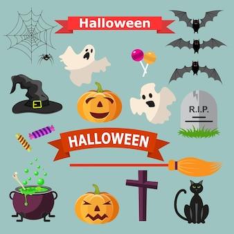 할로윈 리본 및 문자 집합입니다. 고양이 박쥐 사탕 거미, 유령, 호박, 마녀 모자, 십자가. 할로윈 디자인, 웹사이트, 전단지, 초대 카드에 대 한 벡터 일러스트 레이 션