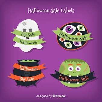 Set of halloween sale labels