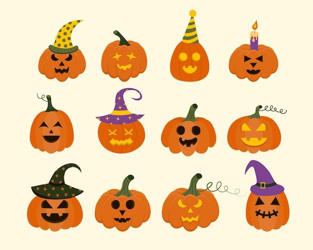 Набор страшных тыкв хэллоуина символ праздника happy halloween