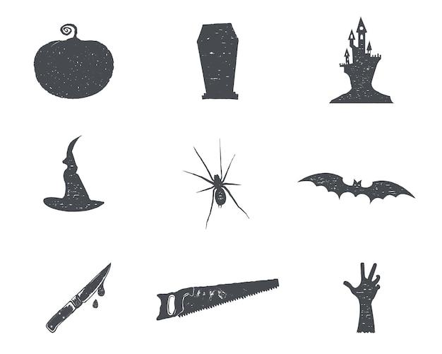 Набор изонов силуэт хэллоуин. урожай рисованной дизайн символов вечеринки в честь хэллоуина для празднования праздника. ретро монохромный стиль. векторного, изолированные на белом фоне.
