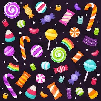 ハロウィンのお菓子とキャンディーのセットです。フラットスタイルで。