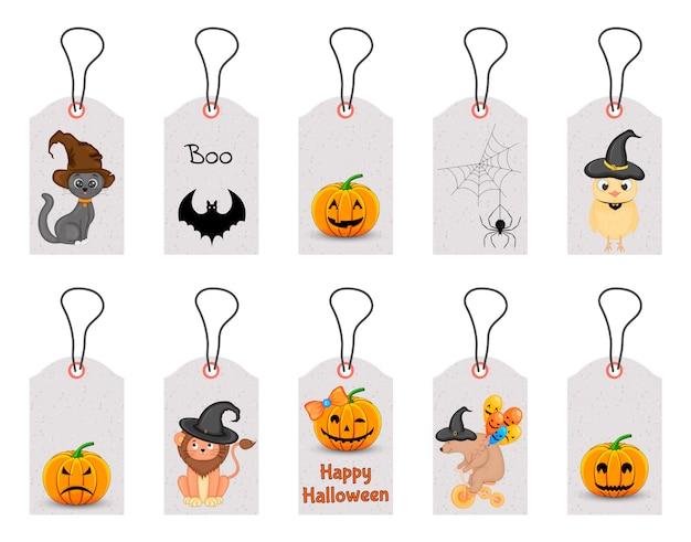 Набор тегов хэллоуин для праздничных товаров на белом фоне. мультяшный стиль ,