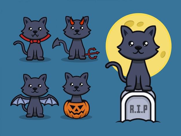 ハロウィーンをテーマにした猫のマスコットデザインイラストのセット