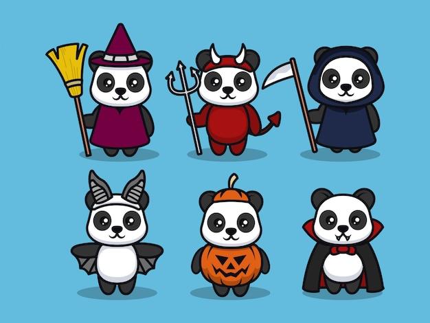 Набор иллюстраций дизайна талисмана панды на хэллоуин