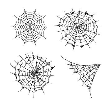 ハロウィーンのウェブのセット。背景のホラー蜘蛛の巣。アウトラインベクトルイラスト