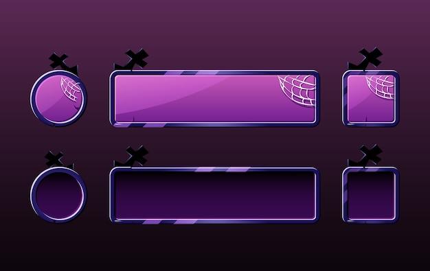 ゲームuiアセット要素のハロウィーンボタンのセット