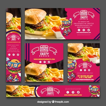 Set of hamburger banners