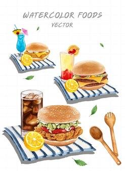 수채화로 그린 햄버거 세트