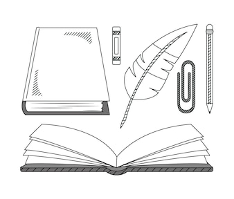 Set of hand draw education cartoons collection