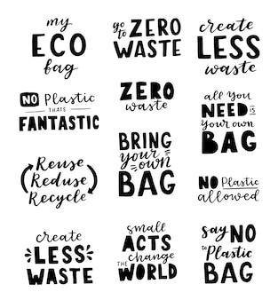 Набор надписей ручной рисунок на тему «ноль отходов» на белом фоне. его можно использовать для открыток, брошюр, плакатов, футболок, кружек и других рекламных материалов.
