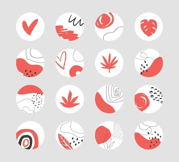 ソーシャルメディアのハイライトのための手描きの抽象的なコラージュテンプレートのセット
