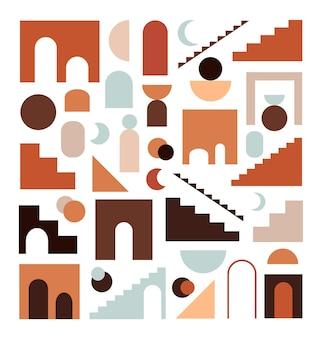 손으로 그린 추상적 인 기하학적 도형, 계단, 절연 라인 세트
