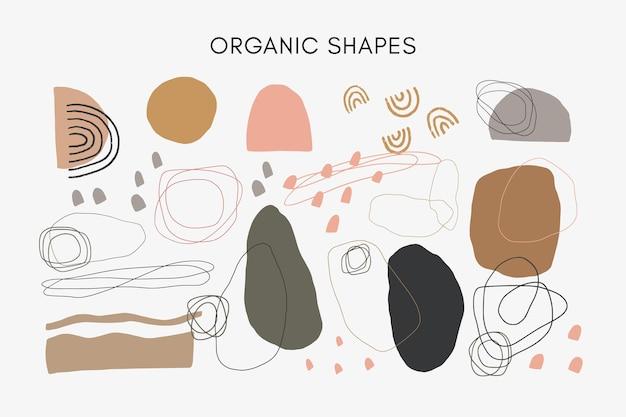 手描きの抽象的な有機的な形とニュートラルな色調の不規則な線のセット。