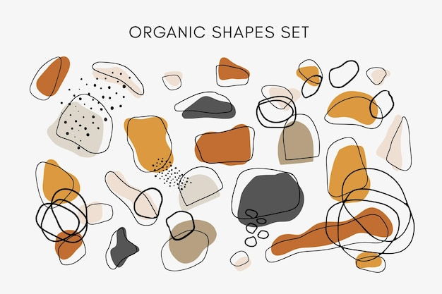 温かみのあるニュートラルな色調の手描きの抽象的な有機的な形のセット