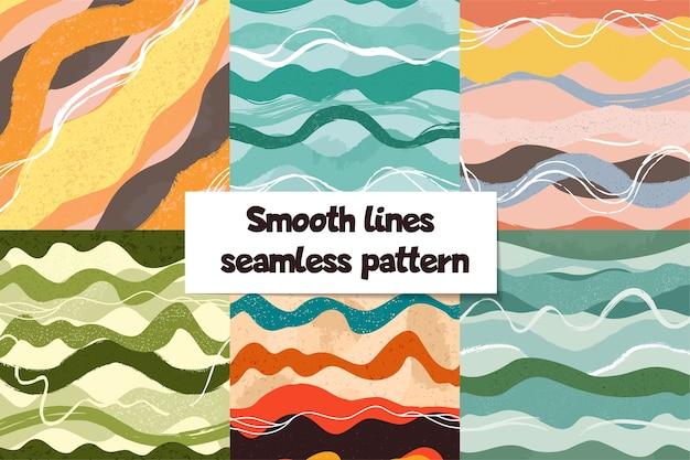 手描きの波と抽象的なシームレスパターンのセット