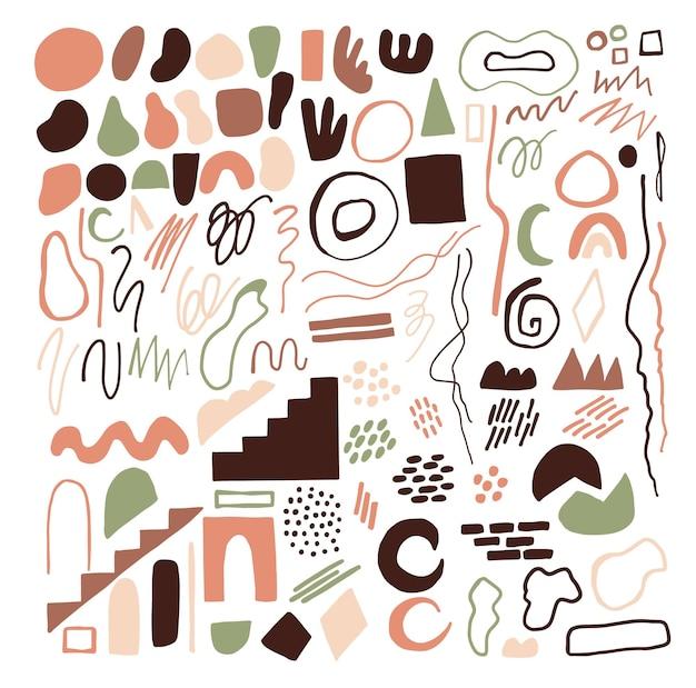 手描きの抽象的な形、線、落書きのセット