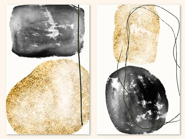 Набор рисованной абстрактной акварели и золотых фигур