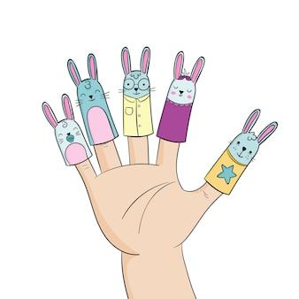 손으로 그린 귀여운 손가락 인형 세트