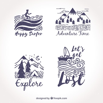 Set of hand drawn adventures stickers