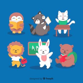 Набор рисованной животных обратно в школу