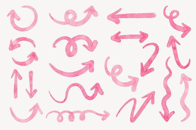 手描き矢印ブラシストロークコレクションのセット